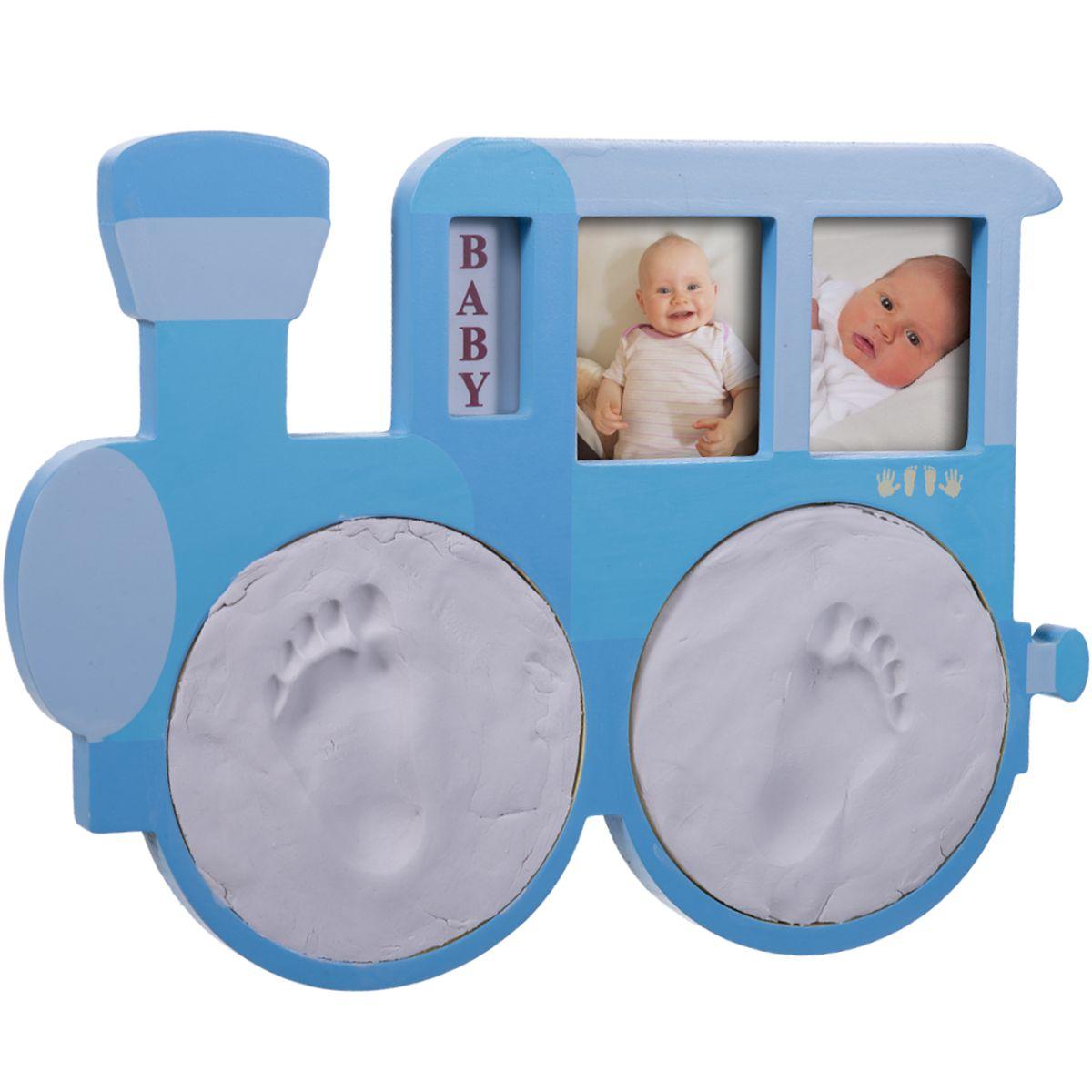 BIECO XL Bilderrahmen Abdruckset LOKOMOTIVE Gipsabdruck Baby Kind ...