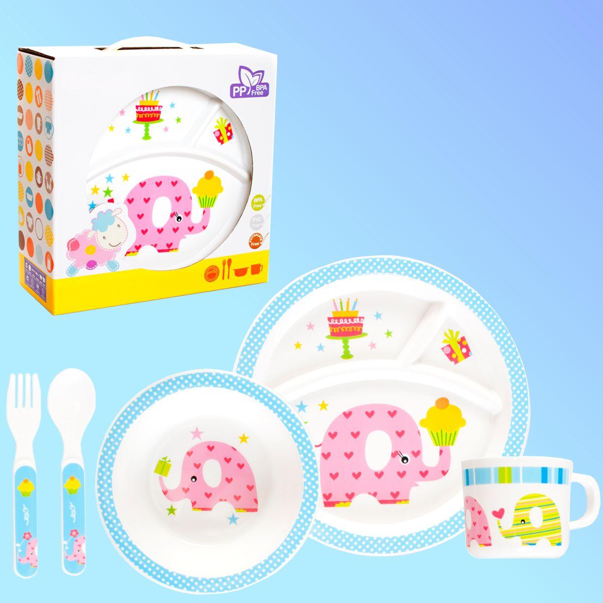 Baby Kinder Geschirr SET (5tlg) Ess Lern Gedeck Teller  ~ Geschirr Set