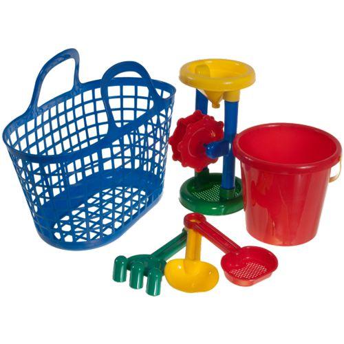 sandspielzeug set mit korb strandspielzeug f r sandkasten sand strand baby kind ebay. Black Bedroom Furniture Sets. Home Design Ideas