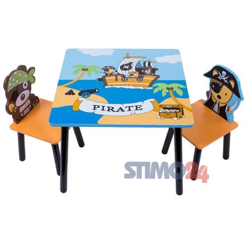 sitzgruppe pirat tisch 2 st hle tischgruppe kindersitzgruppe kinder garnitur ebay. Black Bedroom Furniture Sets. Home Design Ideas