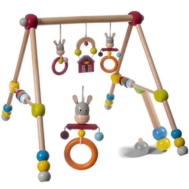 bieco holzgym spieltrapez esel spielbogen spieltrainer baby gym,