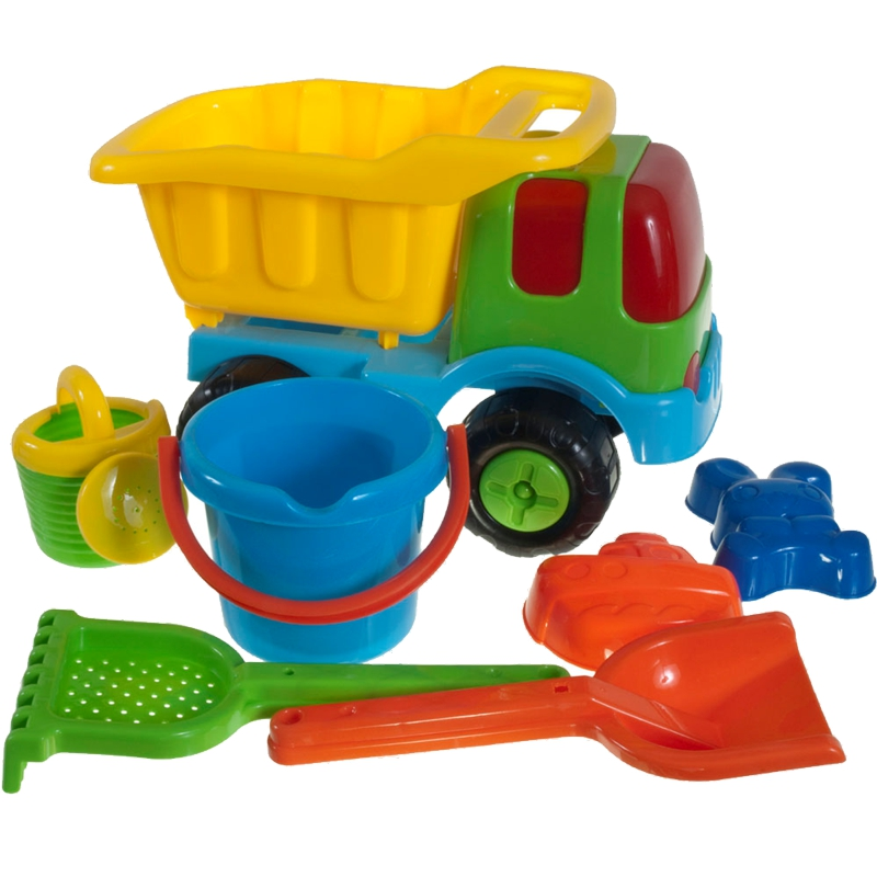 lkw kipper mit sandspielzeug f r sandkasten strand strandspielzeug kipplaster ebay. Black Bedroom Furniture Sets. Home Design Ideas