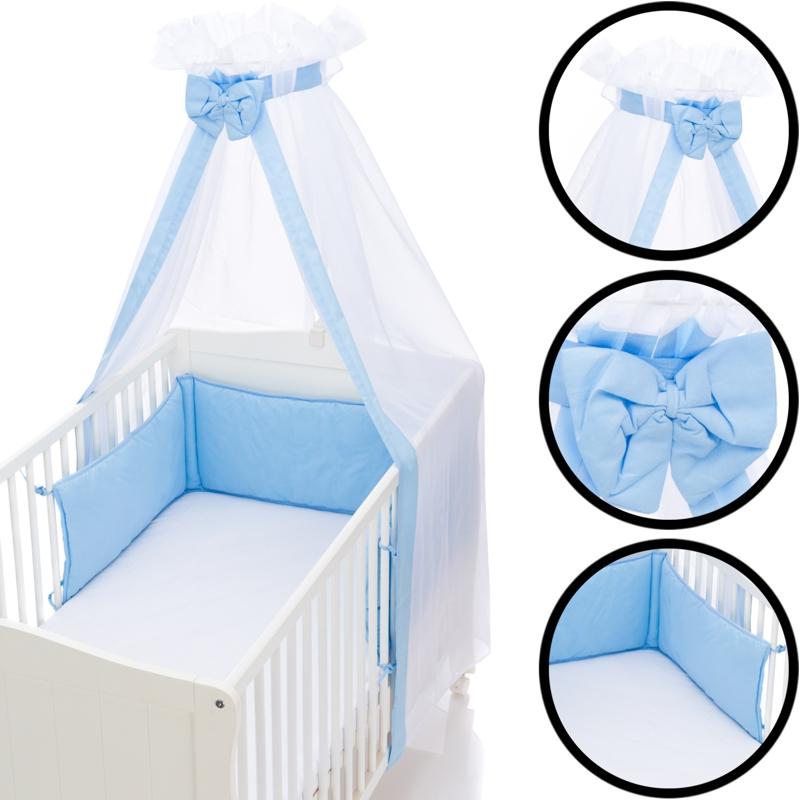 SET Betthimmel Schleier /& Bettumrandung Nestchen Baby Stoß Schutz Bett Nest Kopf