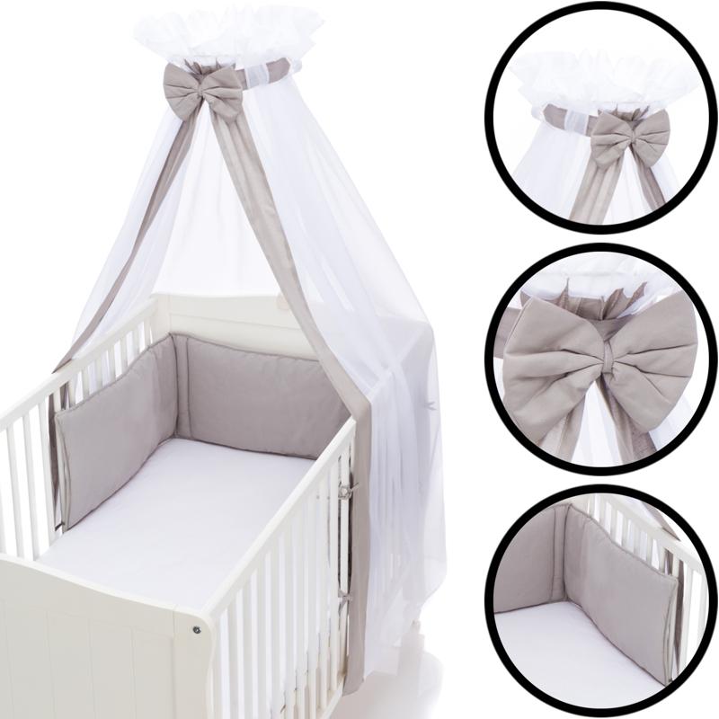 GRAU Babybett Umrandung Nestchen und Betthimmel Schleier im Set 100/% Baumwolle