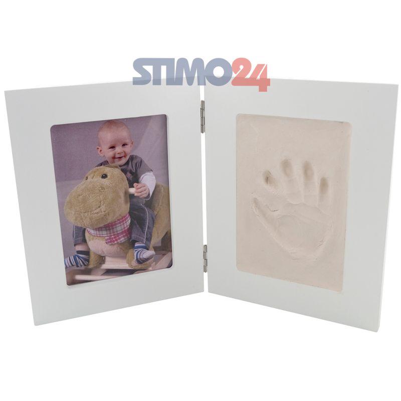 Bilderrahmen Gipsabdruck SET Abdruckset Handabdruck Fußabdruck Baby Hand Fuß NEU 2-Fach Bilderrahmen groß (weiß)