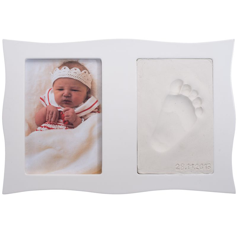 baby abdruck mit bilderrahmen set gipsabdruck kind hand fu abdruck foto rahmen ebay. Black Bedroom Furniture Sets. Home Design Ideas