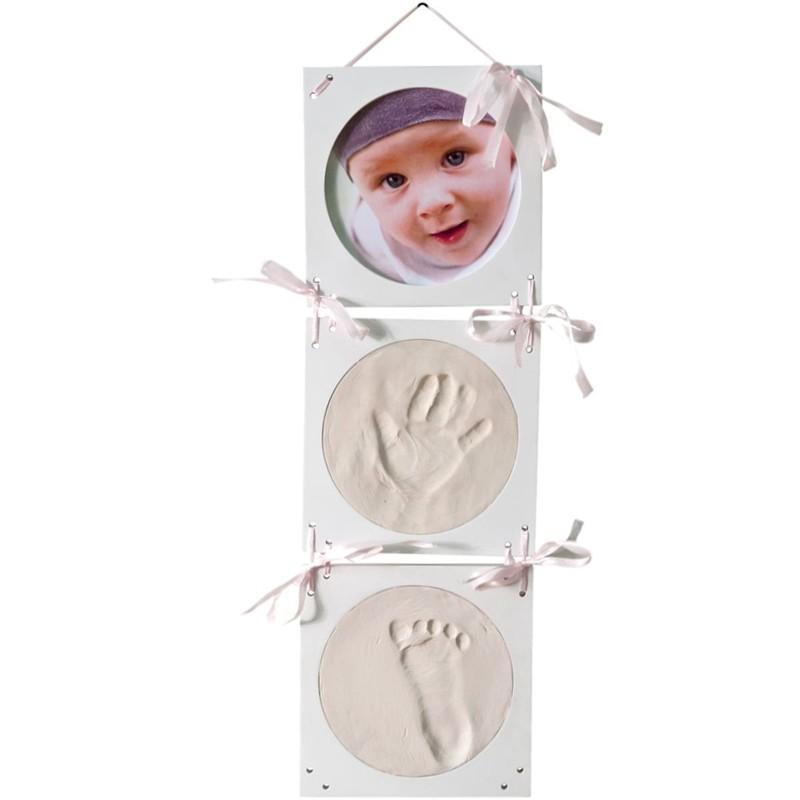 Bilderrahmen Gipsabdruck SET Abdruckset Handabdruck Fußabdruck Baby Hand Fuß NEU 3-Fach Bilderrahmen hängend (weiß)
